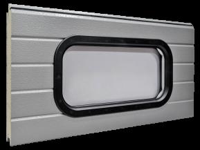 Kahekordse PVC-akrüülklaasistusega ovaalne aken - Must plastraam 670 x 345 mm